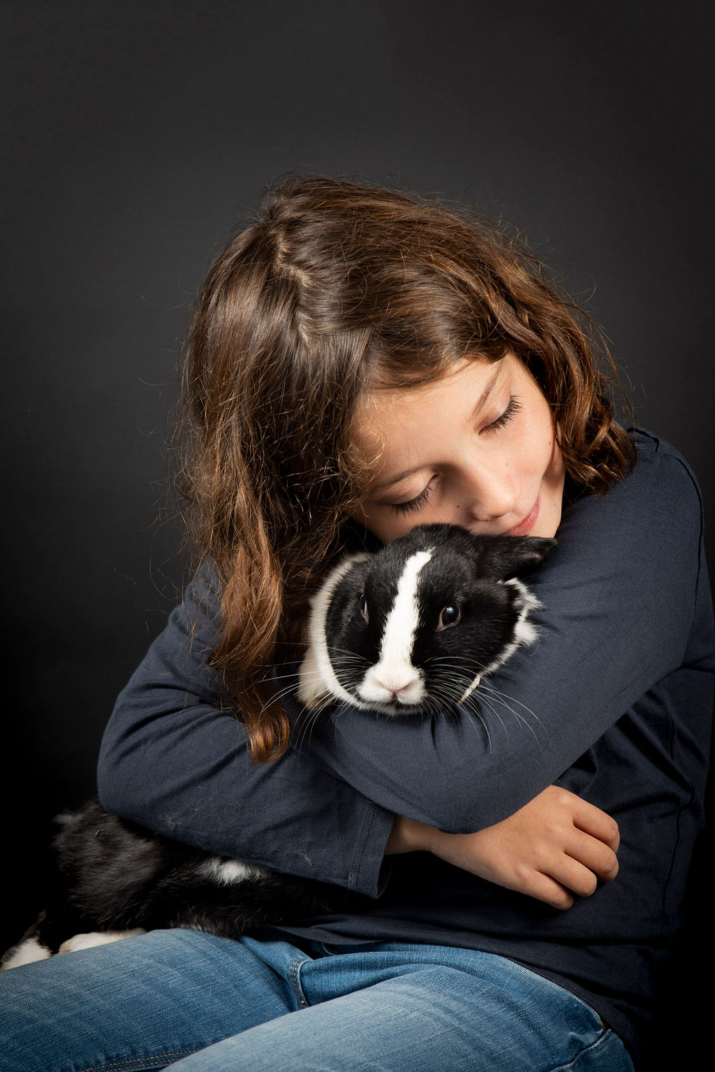 Photo enfant lapin - photographe animaliere bayonne